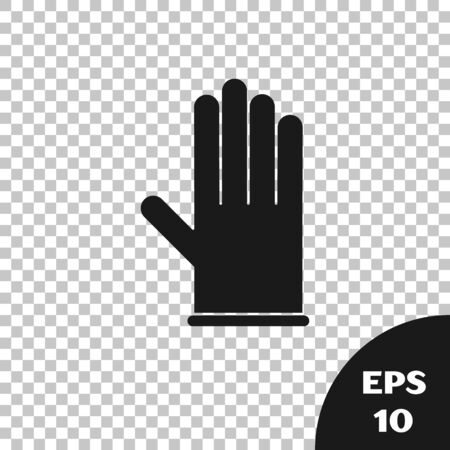 Black Medical rubber gloves icon isolated on transparent background. Protective rubber gloves.  Vector Illustration Vettoriali