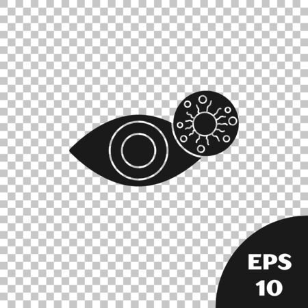 Black Reddish eye due to virus, bacterial or allergic conjunctivitis icon isolated on transparent background. Vector Illustration