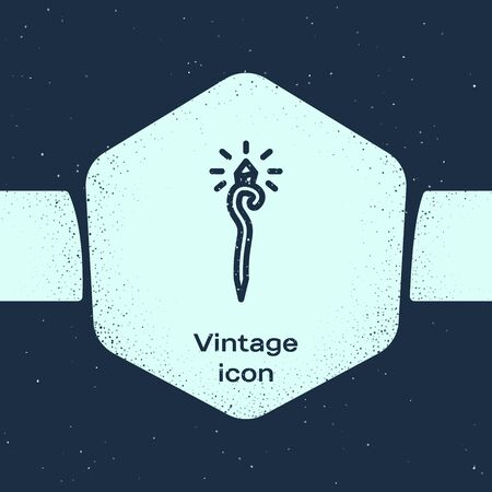 Grunge line Magic staff icon isolated on blue background. Magic wand, scepter, stick, rod. Monochrome vintage drawing. Vector Illustration