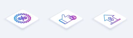 Set Isometric line Discount percent tag, Hand holding coin and Financial growth and coin. White square button. Vector