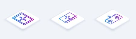 Set Isometric line Tablet, Laptop and Gamepad. White square button. Vector