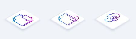 Set Isometric line Document with download, Unknown document and Cloud download and upload. White square button. Vector