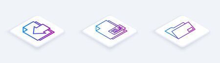 Set Isometric line Next page arrow, XLS file document and Document folder. White square button. Vector