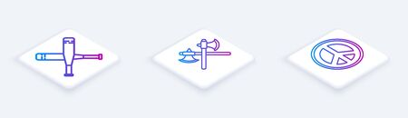 Set Isometric line Crossed baseball bat, Crossed medieval axes and Peace. White square button. Vector