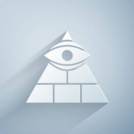 Paper cut Masons symbol All-seeing eye of God icon isolated on grey background. The eye of Providence in the triangle. Paper art style.