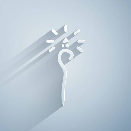 Paper cut Magic staff icon isolated on grey background. Magic wand, scepter, stick, rod. Paper art style. Illustration