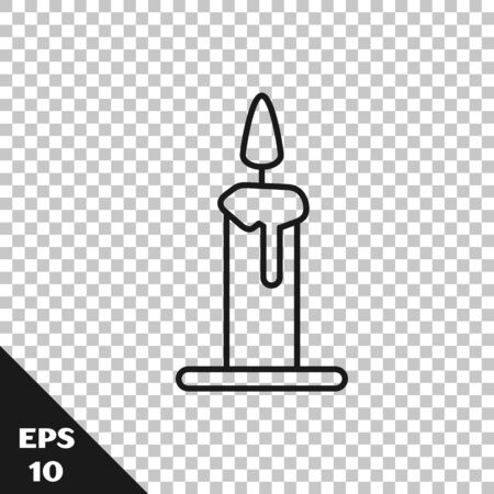 Black line Burning candle in candlestick icon isolated on transparent background. Cylindrical candle stick with burning flame. Vector Illustration