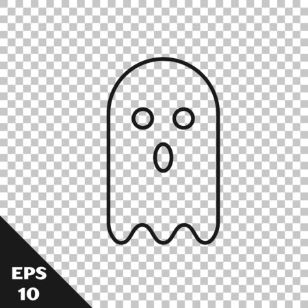 Black line Ghost icon isolated on transparent background. Vector Illustration