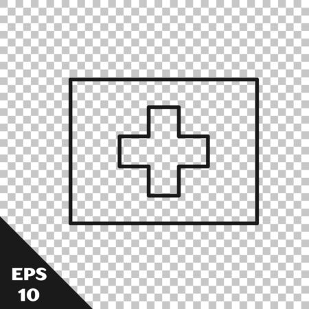 Black line First aid kit icon isolated on transparent background. Medical box with cross. Medical equipment for emergency. Healthcare concept. Vector Illustration