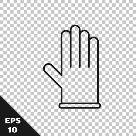 Black line Medical rubber gloves icon isolated on transparent background. Protective rubber gloves. Vector Illustration Vettoriali