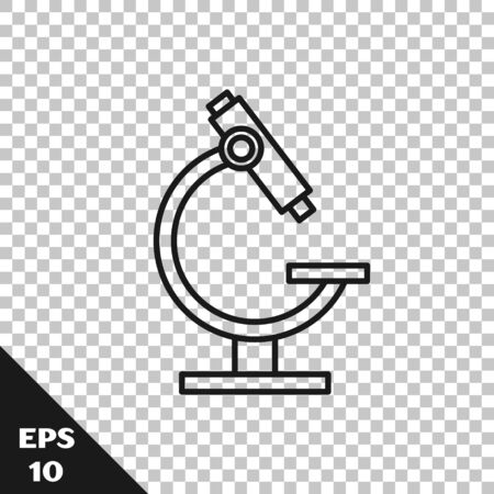 Black line Microscope icon isolated on transparent background. Chemistry, pharmaceutical instrument, microbiology magnifying tool. Vector Illustration