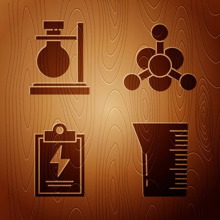 Set Laboratory glassware or beaker, Test tube flask on stand, Laboratory clipboard with checklist and Bacteria on wooden background. Vector