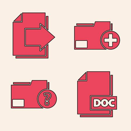 Set DOC file document, Next page arrow, Add new folder and Unknown document folder icon. Vector