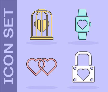 Set Lock and heart, Heart in the bird cage, Two Linked Hearts and Heart in the center wrist watch icon. Vector