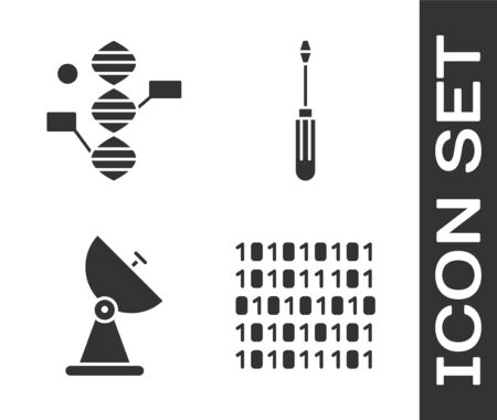 Set Binary code, DNA symbol, Radar and Screwdriver icon. Vector