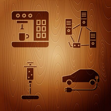 Set Electric car, Coffee machine, Syringe and Computer network on wooden background. Vector