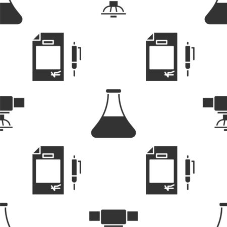 Set Industry pipe and valve, Oil petrol test tube and Contract money and pen on seamless pattern. Vector