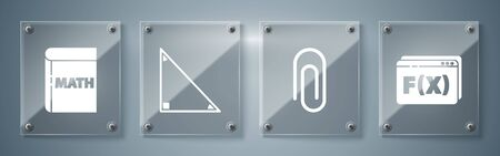 Set Function mathematical symbol, Paper clip, Triangle math and Book with word mathematics. Square glass panels. Vector