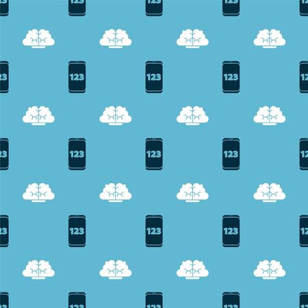 Set Mobile calculator interface and Human brain on seamless pattern. Vector