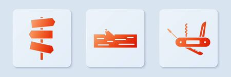 Set Wooden log, Road traffic signpost and Swiss army knife. White square button. Vector Stockfoto - 144443021