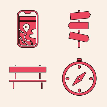 Set Compass, City map navigation, Road traffic signpost and Bench icon. Vector