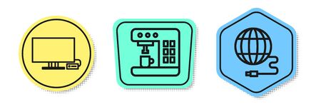 Set line Smart Tv, Coffee machine and Social network. Colored shapes. Vector