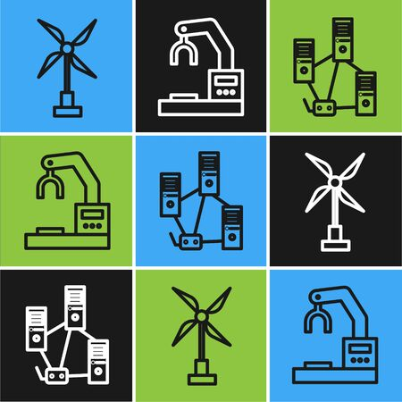 Set line Wind turbine, Computer network and Robotic robot arm hand factory icon. Vector
