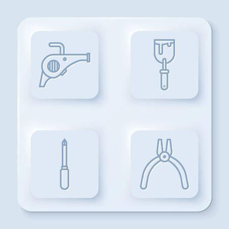 Set line Leaf garden blower, Putty knife, Screwdriver and Pliers tool. White square button. Vector Иллюстрация