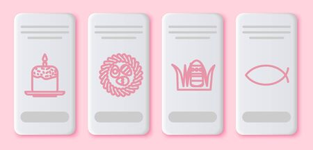 Set line Easter cake and candle, Easter egg in a wicker nest, Easter egg and Christian fish. White rectangle button. Vector