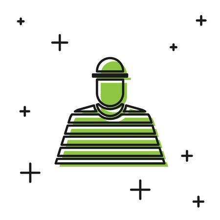 Black Prisoner icon isolated on white background. Vector Illustration Illustration