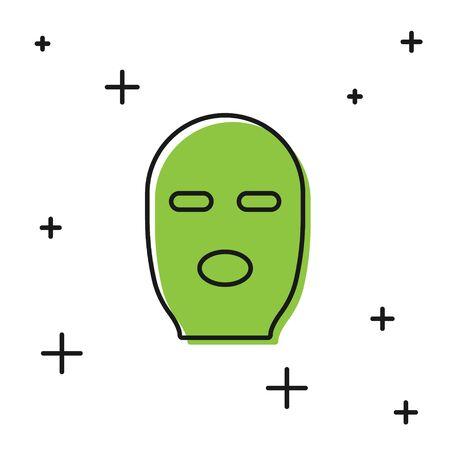 Black Thief mask icon isolated on white background. Bandit mask, criminal man. Vector Illustration