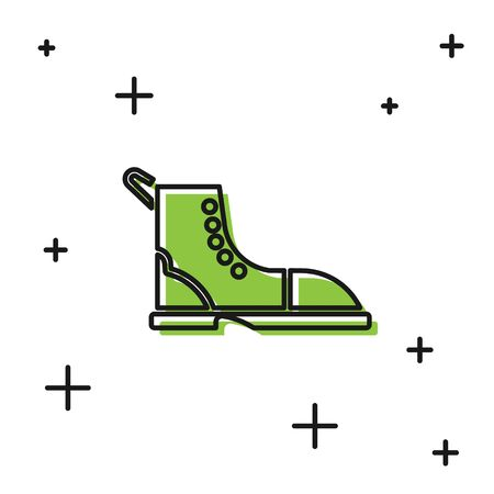 Black Hiking boot icon isolated on white background. Vector Illustration Vettoriali
