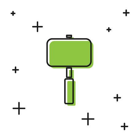 Black Sledgehammer icon isolated on white background. Vector Illustration