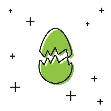 Black Broken egg icon isolated on white background. Happy Easter. Vector Illustration