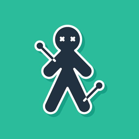 Blue Voodoo doll icon isolated on green background. Vector Illustration 矢量图像