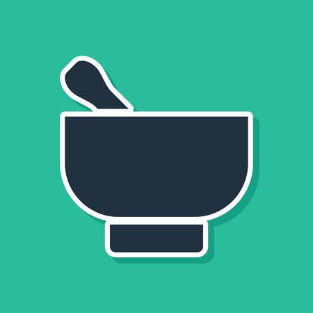 Blue Magic mortar and pestle icon isolated on green background. Vector Illustration