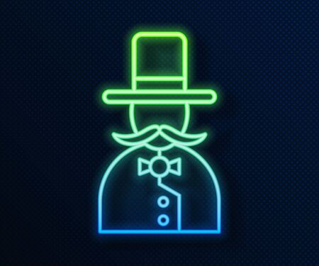 Glowing neon line Magician icon isolated on blue background. Vector Illustration