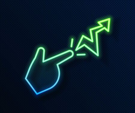 Glowing neon line Spell icon isolated on blue background. The sorcerer hand performing spells. Vector Illustration