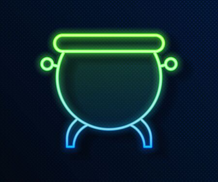 Glowing neon line Witch cauldron icon isolated on blue background. Happy Halloween party. Vector Illustration