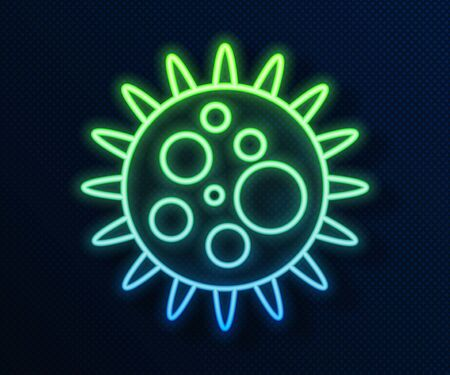 Glowing neon line Virus icon isolated on blue background. Corona virus 2019-nCoV. Bacteria and germs, cell cancer, microbe, fungi. Vector Illustration Ilustracja