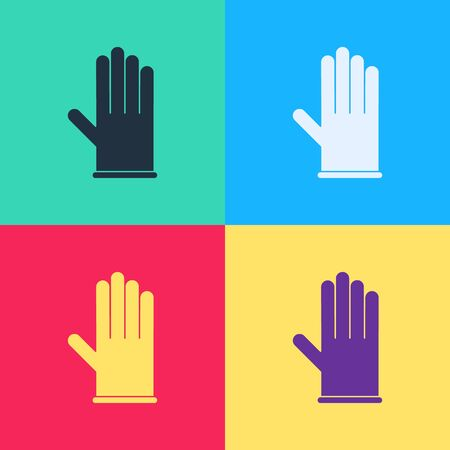 Pop art Medical rubber gloves icon isolated on color background. Protective rubber gloves.  Vector Illustration  イラスト・ベクター素材