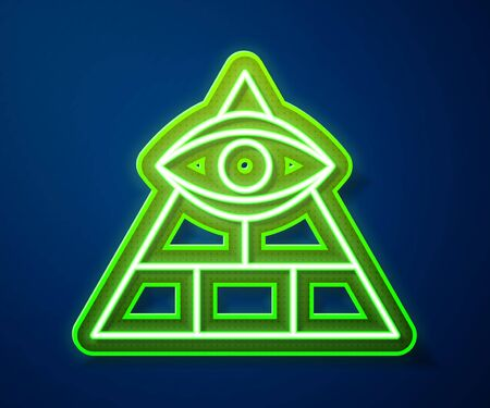 Glowing neon line Masons symbol All-seeing eye of God icon isolated on blue background. The eye of Providence in the triangle.  Vector Illustration