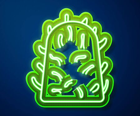 Glowing neon line Rabies virus disease microorganisms icon isolated on blue background.  Vector Illustration