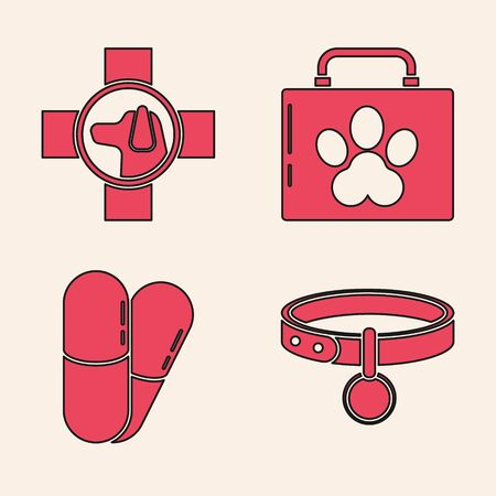 Set Collar with name tag, Veterinary clinic symbol, Pet first aid kit and Dog and pills icon. Vector