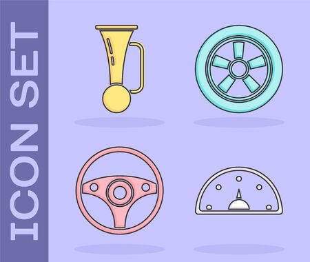Signal horn on vehicle, Steering wheel and Car wheel icon. Vector  イラスト・ベクター素材