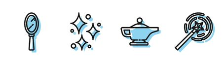 Set line Magic lamp, Magic hand mirror, Sparkle stars with magical glitter and Magic wand icon. Vector