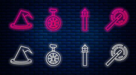 Set line Unicycle or one wheel bicycle, Magic staff, Witch hat and Magic wand. Glowing neon icon on brick wall. Vector Illustration