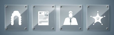 Set Hexagram sheriff, Lawyer, attorney, jurist, Lawsuit paper and Judge wig. Square glass panels. Vector