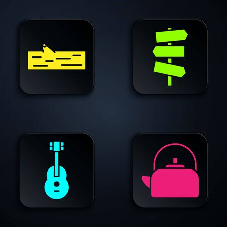 Set Kettle with handle, Wooden log, Guitar and Road traffic signpost. Black square button. Vector