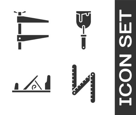 Set Folding ruler, Clamp tool, Wood plane tool and Putty knife icon. Vector